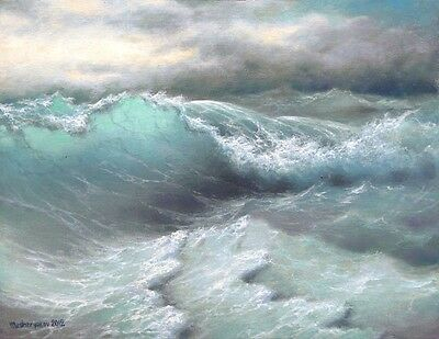 """300- 11""""x 14"""" GALLERY WRAP CANVAS ART PRINT SEASCAPE Stormy Ocean Pacific Waves"""