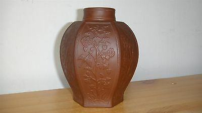 EXT RARE ANTIQUE 18th CENTURY MEISSEN BOTTGER RED STONEWARE HEXAGONAL TEA CADDY