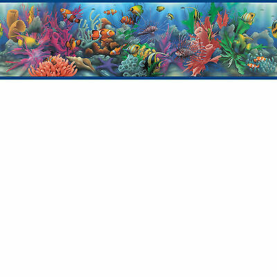 Blue Lagoon Oceans of Fish Wallpaper Border BYR92341B / SB10218B