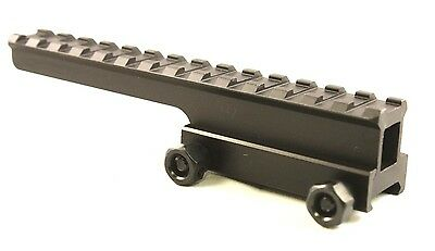 """1"""" Inch 14 Slot Offset Riser Mount See Through Design for Flat Top Rifles"""
