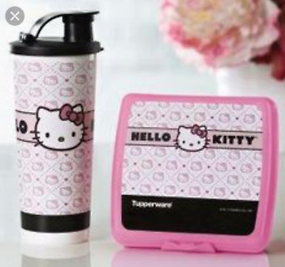Tupperware Hello Kitty Lover's Lunch Sandwich Keeper + Tumbler & Pour Seal New