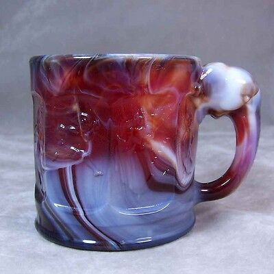 Heisey Glass Imperial #1591 Elephant Handled Child Storybook Mug Ruby Slag Awesm