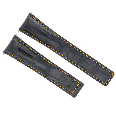 70456b5997a 22 18Mm Leather Alligator Band Strap Clasp For Tag Heuer Carrera 16 Black  Os 3T