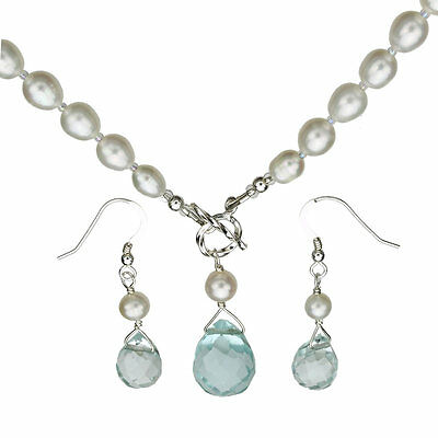 Aqua Lariat Briolette Natural Pearls Sterling Toggle Necklace Earrings n754-e754