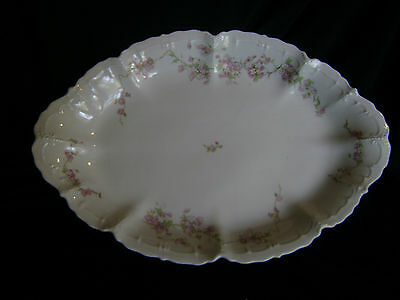 "NICE HABSBURG MZ CHINA AUSTRIA  OVAL SERVING PLATTER PINK FLOWERS 14.5"" x 9"""