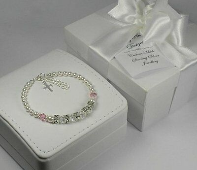 Sterling Silver Personalised Christening Name Bracelet
