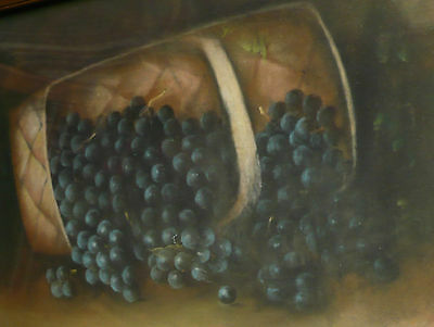 WENDLING (Early 20th Century, Still Life of Grapes and Basket) RARE PASTEL Grape