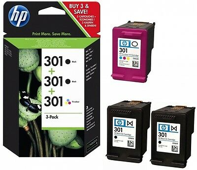 3 Original HP 301 Drucker Patronen Tinte OfficeJet 2620 4630 4632 2622 4634 4636