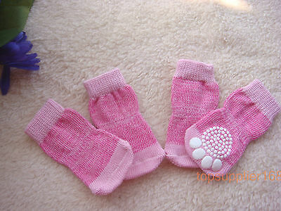 New pink dog puppy gift Pets anti-slip warm soft cute Socks for shoes S/M/L/XL