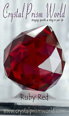 40mm Large Red Crystal Glass Chandelier Lamp Prism Window Hanging Ball  QTY 1