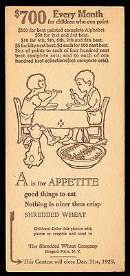 A for APPETITE 1929 Shredded Wheat CEREAL PREMIUM CARD Painted Alphabet Contest