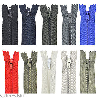 50 Assorted Dress Upholstery Craft Nylon Metal Closed Open Ended Zips Repair