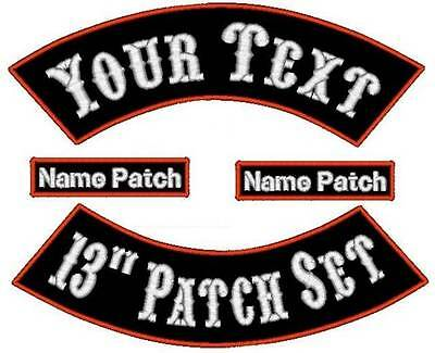 """4 Piece Custom Embroidered Rocker Name Patch Set Motorcycle Biker 13"""" Tags Badge"""