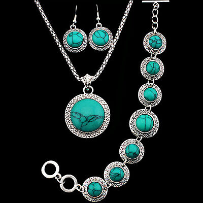 Retro Silver Plated Necklace Bracelet Earring SunFlower Turquoise Jewelry Sets