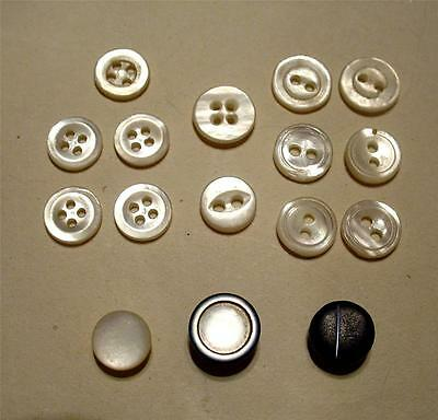 """14 Assorted Vtg. Tiny 1/4""""-5/16"""" Mother Of Pearl Sewing Buttons For Doll Clothes"""