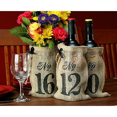 Table Numbers 11-20 Burlap Hessian Wedding Wine Bottle Bag Rustic Decoration