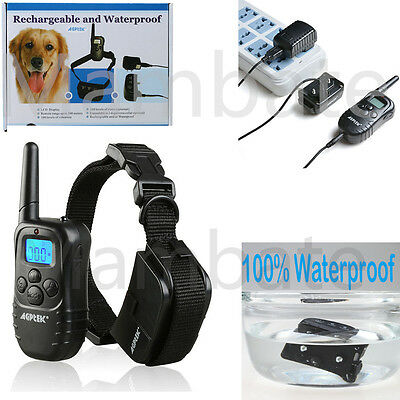 Waterproof Rechargeable LCD 100LV Level Shock Vibrate Remote Dog Training Collar