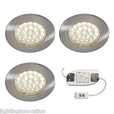 3 x RECESSED ROUND LED LIGHT KIT KITCHEN UNDER CABINET SHELF DISPLAY WARM WHITE