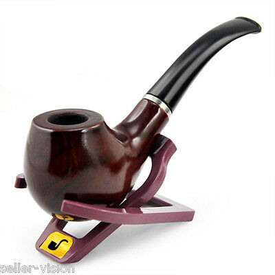 Durable Wooden Pipe Smoking Tobacco Cigar Pipes Cool Gift & Stand Holder Present