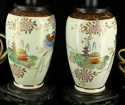 Nice Semi Antique Chinese Japanese Vase Lamp Pr Boudoir Lamps Birds Pagoda Works