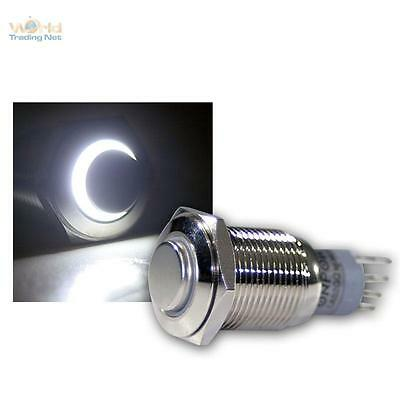 Stainless Steel Pressure Button, Switch, Bell Led Lighted White