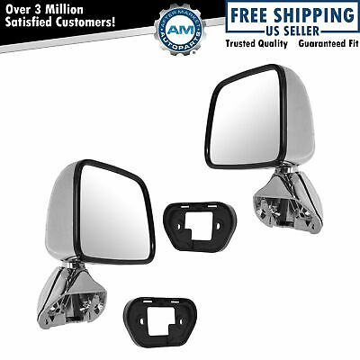 Manual Side View Mirrors Chrome Pair Set for 87-88 Toyota Pickup Truck 4Runner