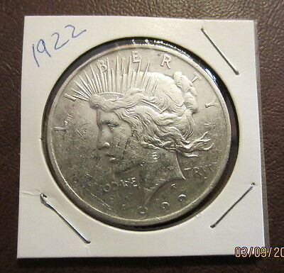 1922 Peace One Dollar 90% Pure Silver Circulated $1. Coin USA #626