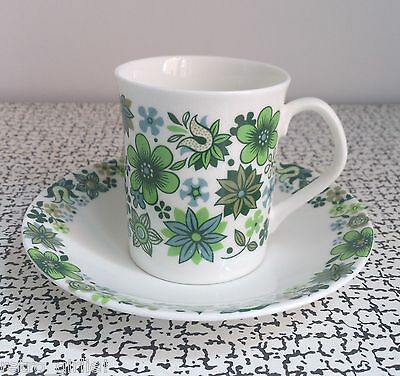 60s Vintage Retro Kitsch Floral Elizabethan Carnaby Coffee Cup & Saucer Green