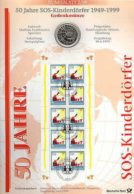 Coin Sheets 1999: Numisblatt 2/99 Villages D'enfants Avec 10 Dm
