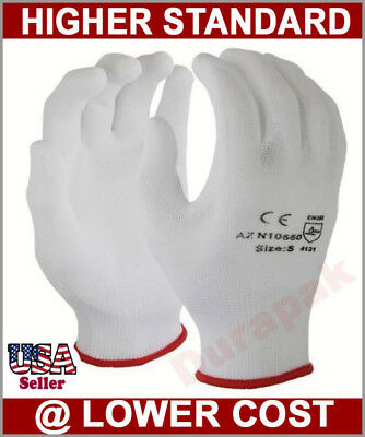 240 Pairs Nylon Working Gloves w/ White Polyurethane (PU) Coating S, M, L, XL