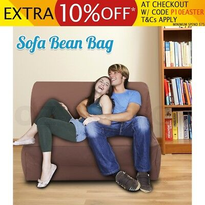 Coffee Sofa Bean Bag Indoor Outdoor Water Resistant  Large 2-Seater Lounge Chair