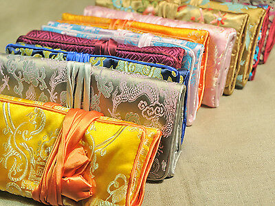 wholesale 10 pcs Silk Brocade Travel Roll Bag Jewelry Pouch Fashion Gift