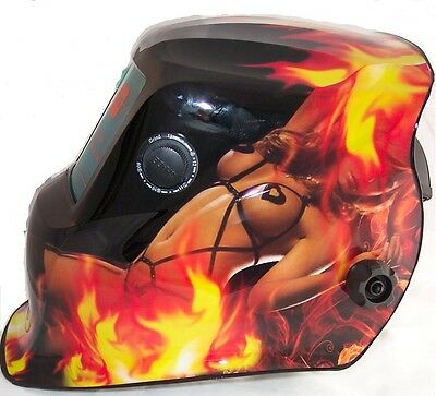 AUTO DARKENING WELDING HELMET WELDERS MASK H8-718G FLAMING LADY Design