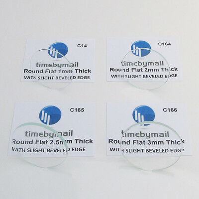 Watch Glass Crystal BEVELLED EDGE 20mm to 50mm Flat Round Part 1mm 2mm 2.5mm 3mm