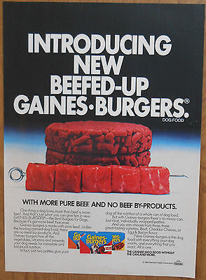 1984 original AD new Beefed-Up Gaines Burgers for Dogs
