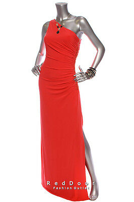 NEW CACHE Women One Shoulder Side Ruched  Beads Full Dress Coral Size 2 4 6 8 10