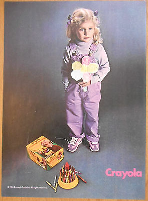 1984 original AD Crayola Crayons little girl with colorful paper flower