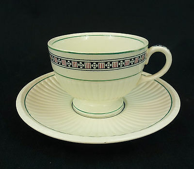 Trentham Red Wedgwood China Small Footed Cup and Saucer Set Edme Navy Flower