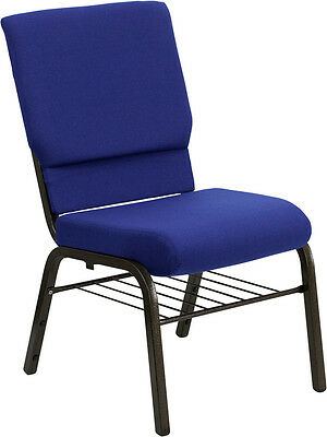 18.5'' Wide Navy Blue Fabric Church Chair With Book Rack - Gold Vein Frame