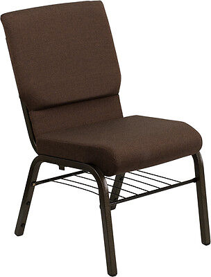 18.5''W Brown Fabric Church Chair, Book Rack - Gold Vein Frame