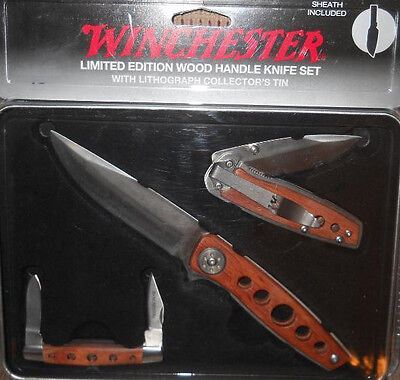 WINCHESTER LIMITED EDITION 2009 WOOD HANDLE KNIFE 3PIECE SET IN COLLECTOR'S TIN