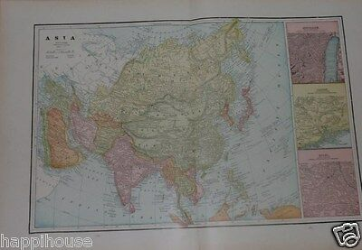 1892 Antique Color Map - Asia / India China Japan 14 x 22 / George F  Cram