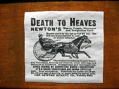 (530) VINTAGE REPRINT ADVERT NEWTON'S 1915 HEAVE VETERINARY HORSE CURE AD 12x11""