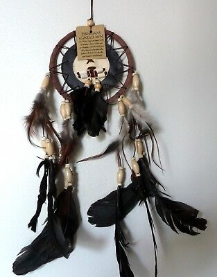 Attrape rêves amérindien Apache country marron en plumes cuir et os de buffle