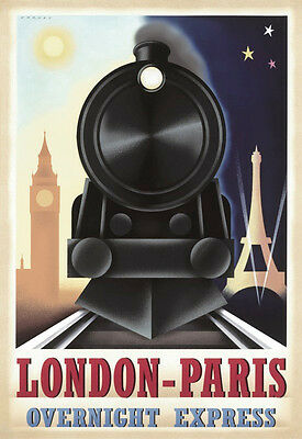 TRAIN ART PRINT - London Paris Overnight Express by STEVE FORNEY 19x13 Poster