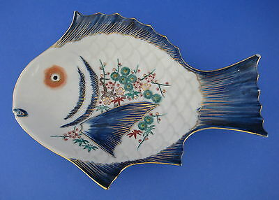 Figural Fish Shaped Dish Plate Flowers Floral Japan