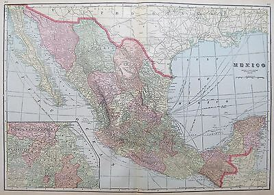 1919 Antique MEXICO MAP  1900s BAJA CALIFORNIA Vintage COLLECTIBLE Map