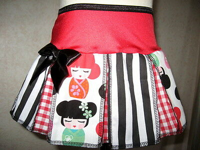 New Baby Girls Black red pink white stripes Geisha floral pleat Skirt gift Party