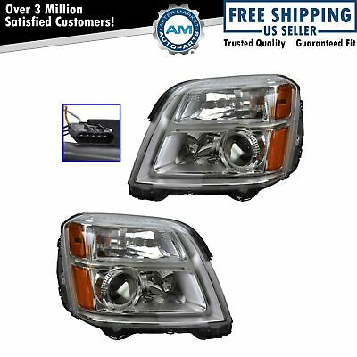Headlight Headlamp Driver & Passenger Pair Set of 2 for 10-13 GMC Terrain