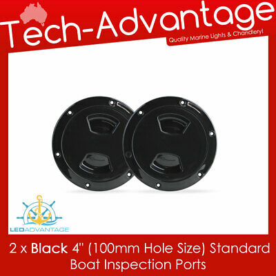 """2 X Black 4"""" Boat Marine Economical Inspection Water Oil Petrol Gauge View Ports"""